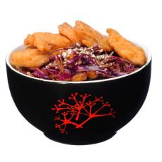 Snitel de pui Sichuan cu salata de varza rosie si otet chinezesc livrare mancare chinezeasca
